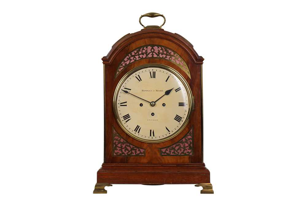 AN EARLY 19TH CENTURY ENGLISH MAHOGANY AND BRASS MOUNTED TRIPLE FUSEE EIGHT...