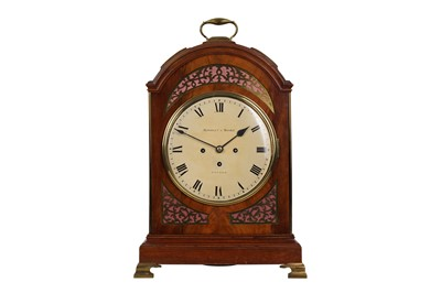 Lot 41-AN EARLY 19TH CENTURY ENGLISH MAHOGANY AND BRASS MOUNTED TRIPLE FUSEE EIGHT BELL TABLE / BRACKET CLOCK SIGNED HANDLEY & MOORE
