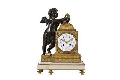 Lot 23-A LATE 19TH CENTURY FRENCH GILT AND PATINATED BRONZE FIGURAL MANTLE CLOCK