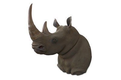 Lot 15-TAXIDERMY INTEREST: AN IMPRESSIVE LIFESIZE FIBREGLASS MODEL OF A SOUTHERN RHINOCEROUS SHOULDER MOUNT