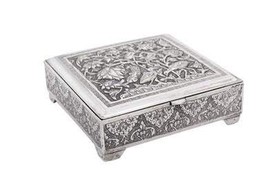 Lot 80-A late 20th century Iranian (Persian) silver cigarette box, Isfahan circa 1980
