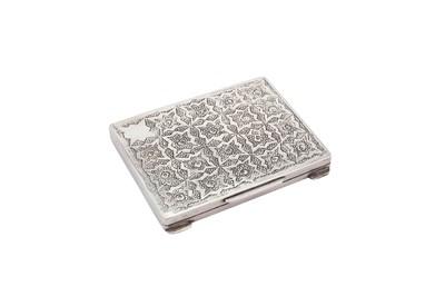 Lot 82-A late 20th century Iranian (Persian) silver book of matches case, circa 1990