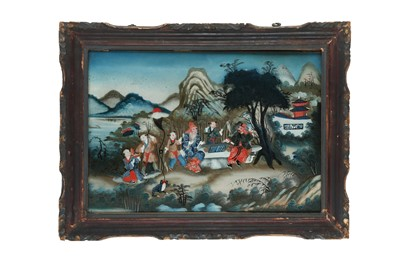 Lot 95-A CHINESE REVERSE GLASS PAINTING OF XIANGQI PLAYERS.