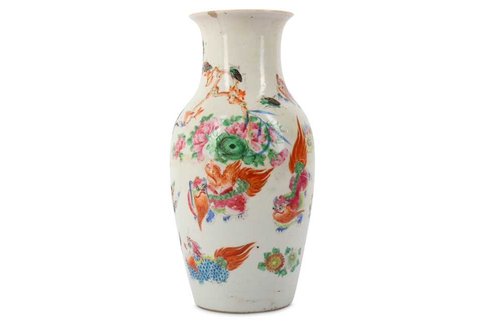 Lot 23-A CHINESE FAMILLE ROSE 'LION DOGS' VASE.