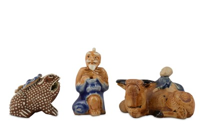 Lot 72-THREE SMALL CHINESE BISCUIT SHIWAN FIGURES.
