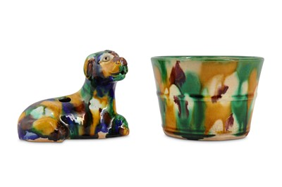 Lot 67-TWO CHINESE SANCAI-GLAZED PIECES.