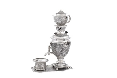 Lot 92-A mid to late-20th century Iranian (Persian) 840 standard silver samovar set on stand, Isfahan 1969-79, retailers mark of Jouz Dane