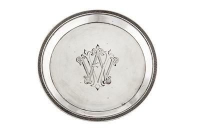 Lot 43-An Alexander III Russian 84 zolotnik (875 standard) silver dish, St Petersburg 1893 mark of Grachev Brothers (est. 1866)