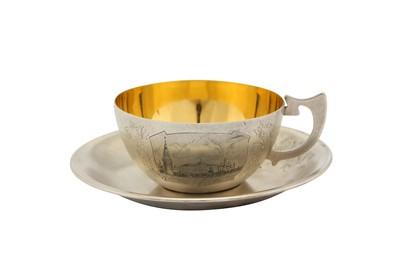 Lot 45-A mid-20th century Soviet Russian (Estonian) 875 standard silver cup and saucer, Tallinn 1954-58 by TФ6 for Tallinn Jewellery Factory