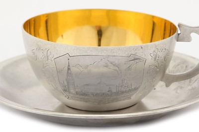 Lot 45-A mid-20th century Soviet Russian (Estonian) 875 standard silver cup and saucer, Tallinn 1954-58 by TФ6 for Tallinn Jewellery Factory