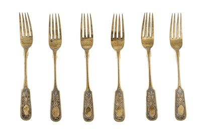 Lot 47-A set of six Alexander III Russian provincial parcel gilt 84 zolotnik (875 standard) dessert forks, probably Odessa 1889 by Г. BAИHГAPTЪ (untraced)