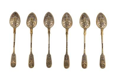 Lot 46-A set of six Alexander III Russian parcel gilt 84 zolotnik (875 standard) silver teaspoons, Moscow 1887 by Romav Aristarkhov (active 1880-1896)