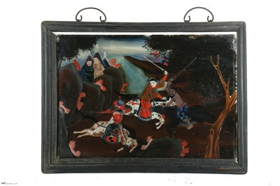 Lot 96-A CHINESE REVERSE GLASS PAINTING OF EQUESTRIAN WARRIORS.