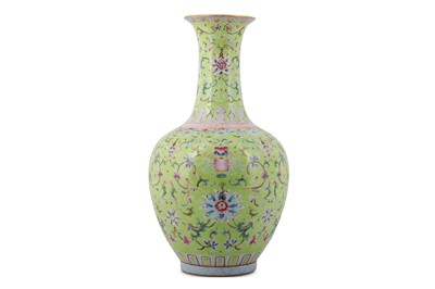 Lot 14-A CHINESE FAMILLE ROSE LIME GREEN-GROUND 'LOTUS' VASE.