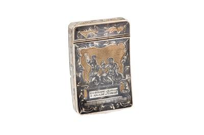 Lot 52-A Nicholas I Russian 84 Zolotnik (875 standard) parcel-gilt silver and niello snuff box, Moscow 1827 by Osip Balanov