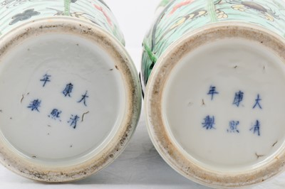 Lot 17-A PAIR OF CHINESE FAMILLE VERTE 'FISH POND' VASES.