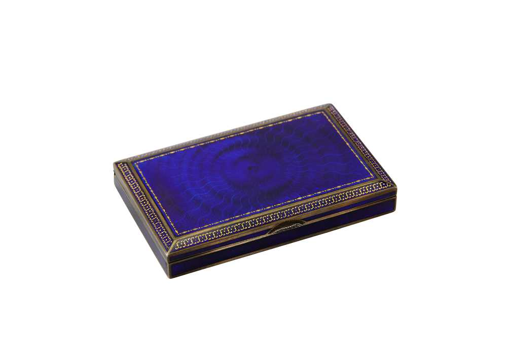 Lot 22-An early 20th century Austrian 900 standard silver and guilloche enamel cigarette case, Vienna post-1922 by AHS (untraced)