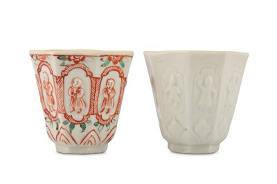 Lot 33-A PAIR OF CHINESE BLANC-DE-CHINE OCTAGONAL CUPS.