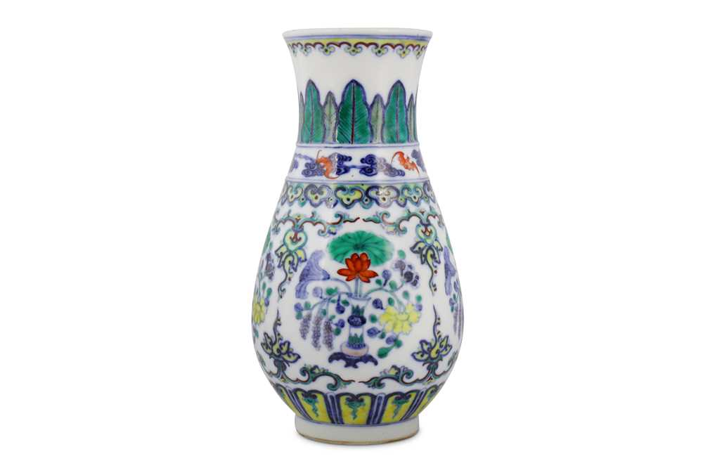 Lot 27-A CHINESE DOUCAI 'LOTUS' VASE.