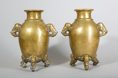 Lot 14-A PAIR OF CHINESE BRONZE 'ELEPHANT' VASES.