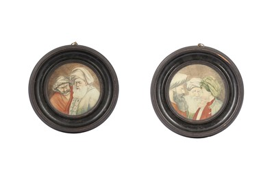 Lot 828-A PAIR OF WATERCOLOUR CARICATURES OF TURKISH MEN