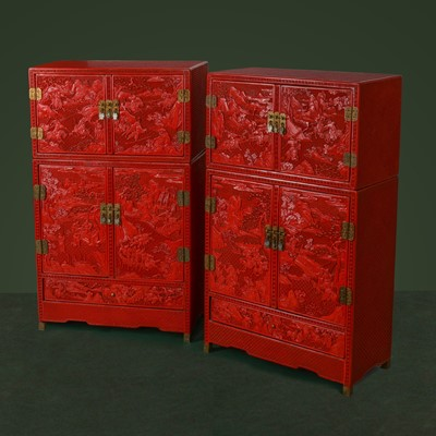Lot 26-A PAIR OF MINIATURE CHINESE CINNABAR LACQUER CABINETS.