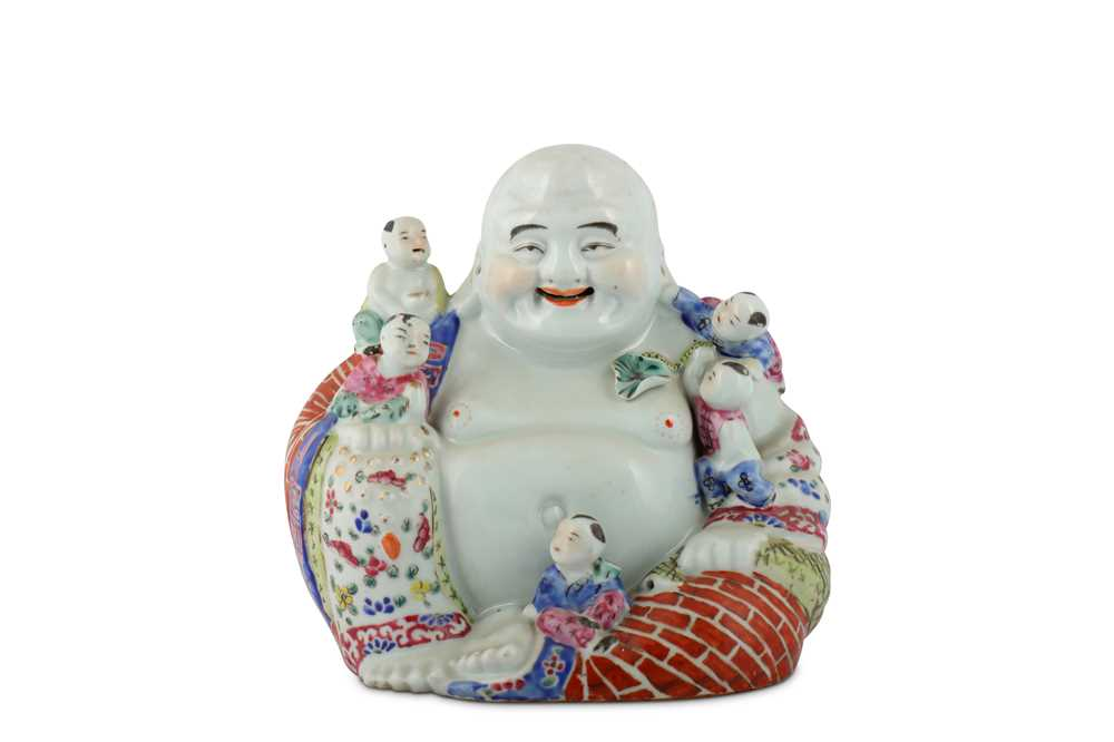 Lot 46-A CHINESE FAMILLE ROSE FIGURE OF BUDAI HESHANG WITH FIVE BOYS.
