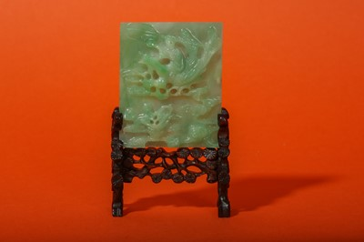 Lot 25-A CHINESE APPLE-GREEN JADEITE MINIATURE TABLE SCREEN.