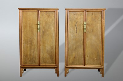 Lot 48-A PAIR OF CHINESE HARDWOOD ROUND-CORNERED TAPERED CABINETS, YUANJIAOGUI
