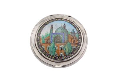 Lot 78-A mid-20th century Iranian (Persian) silver and enamel compact, Isfahan circa 1950 mark of Jahrome