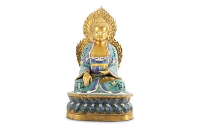 Lot 51-A CHINESE CLOISONNE ENAMEL-DECORATED FIGURE OF A MEDICINE BUDDHA.