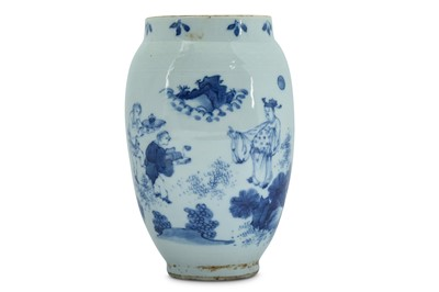 Lot 9-A CHINESE BLUE AND WHITE JAR.
