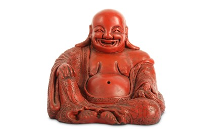 Lot 48-A CHINESE CINNABAR LACQUER FIGURE OF BUDAI HESHANG.