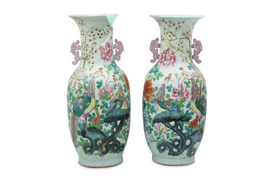 Lot 19-A PAIR OF LARGE  CHINESE FAMILLE ROSE 'PHOENIX' VASES.