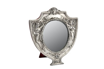 Lot 42-A George V sterling silver mounted dressing table mirror, Birmingham 1910 by J A Restall & Co