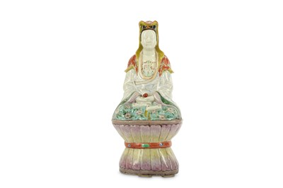 Lot 49-A CHINESE FAMILLE ROSE FIGURE OF GUANYIN.