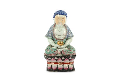 Lot 50-A CHINESE FAMILLE ROSE FIGURE OF A BUDDHA.
