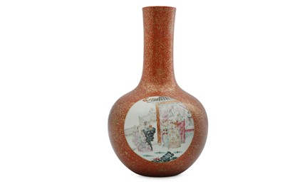 Lot 13-A CHINESE FAMILLE ROSE CORAL-GROUND BOTTLE VASE.