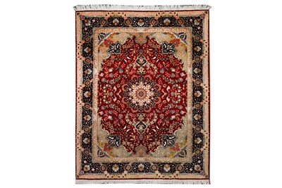 Lot 14-A VERY FINE PART SILK TABRIZ RUG, NORTH-WEST PERSIA