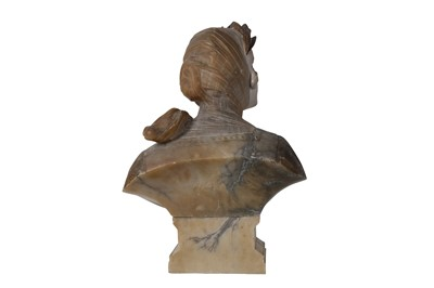 Lot 15 - PROFESSOR GIUSEPPE BESSI (ITALIAN 1857 - 1922): A LATE 19TH / EARLY 20TH CENTURY ALABASTER BUST OF 'ALBA DI PACE' (DAWN OF PEACE)
