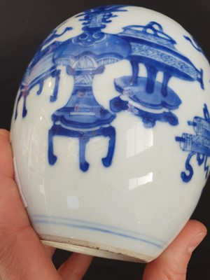 Lot 1-A CHINESE BLUE AND WHITE 'HUNDRED ANTIQUES' JAR.