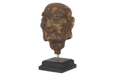 Lot 62-A CHINESE CLAY HEAD OF A LUOHAN.