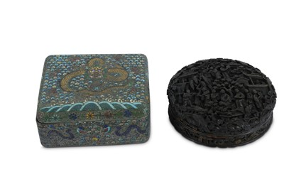 Lot 84-λ A CHINESE CIRCULAR CANTON TORTOISESHELL BOX AND COVER.