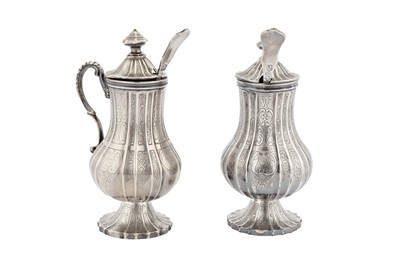 Lot 65-A pair of late 19th century Dutch silver mustard pots with spoons, Groningen or Schoonhoven circa 1890