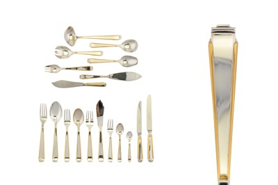 Lot 77-A modern German sterling silver parcel gilt table service of flatware / canteen, circa 1990 by Robbe & Berking