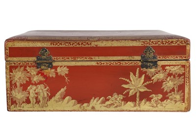 Lot 31 - AN 18TH CENTURY FRENCH RED JAPANNED LACQUER AND GILT BOX