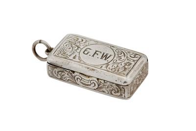 Lot 6-A mid-Victorian sterling silver vesta case, London 1860 by Benjamin Barling