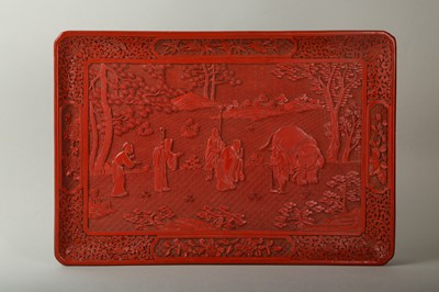 Lot 40-A CINNABAR LACQUERED 'ELEPHANT' TRAY.