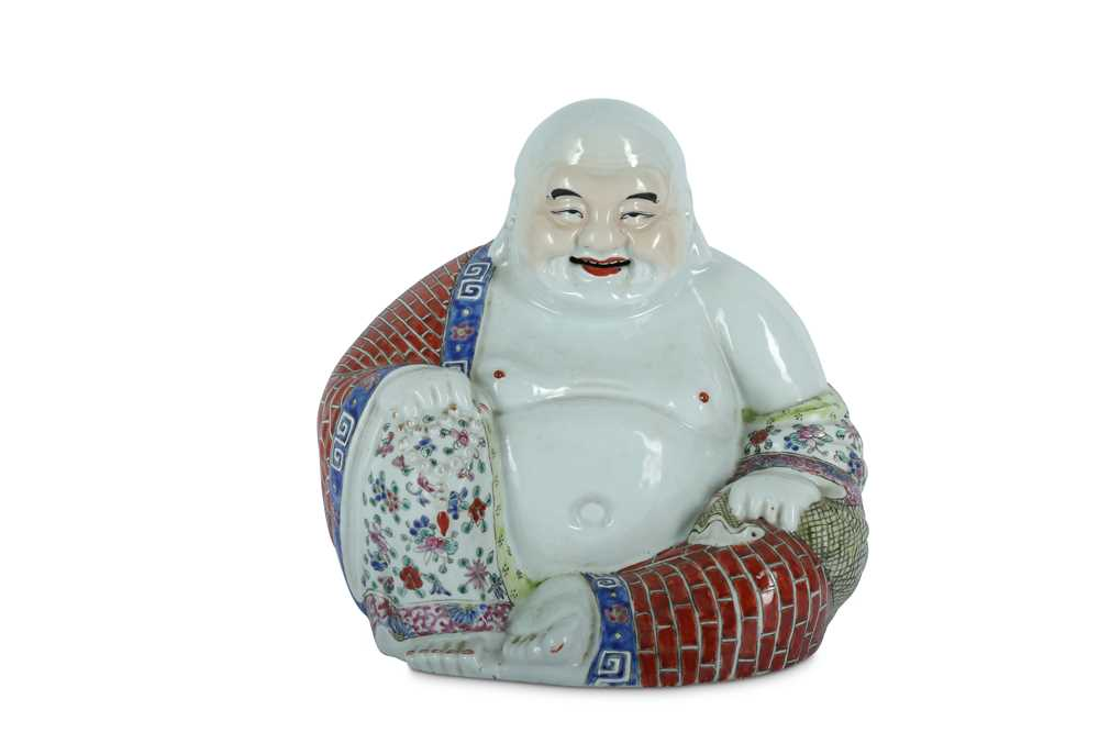 Lot 43-A CHINESE FAMILLE ROSE FIGURE OF BUDAI HESHANG.