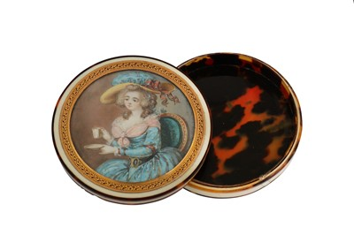 Lot 31-A late 18th century French ivory portrait miniature snuff box, probably Paris circa 1780